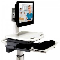 "ADITI 22"" All-In-One Quad Core Flat Screen Computer On Wheels / Medical Cart Computer (TL2530LIB) - Front Angle"